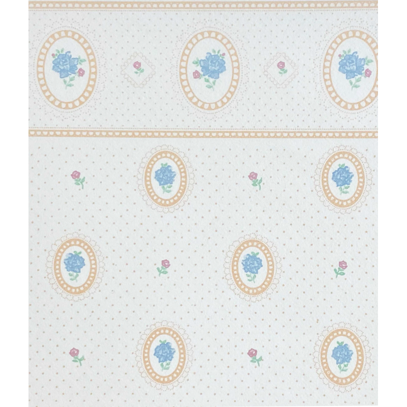 Dolls House Cameo Peach with Blue Roses Miniature Print 1:12 Wallpaper 3 Sheets