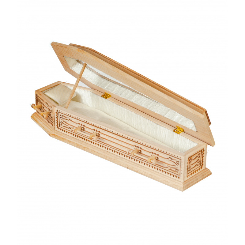 Dolls House Unfinished Coffin JBM Miniature Church Funeral Halloween Accessory