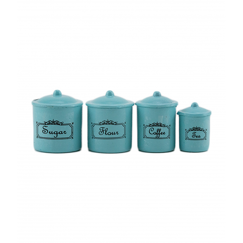 Dolls House 4 Turquoise Blue Canisters Storage Jars Miniature Kitchen Accessory