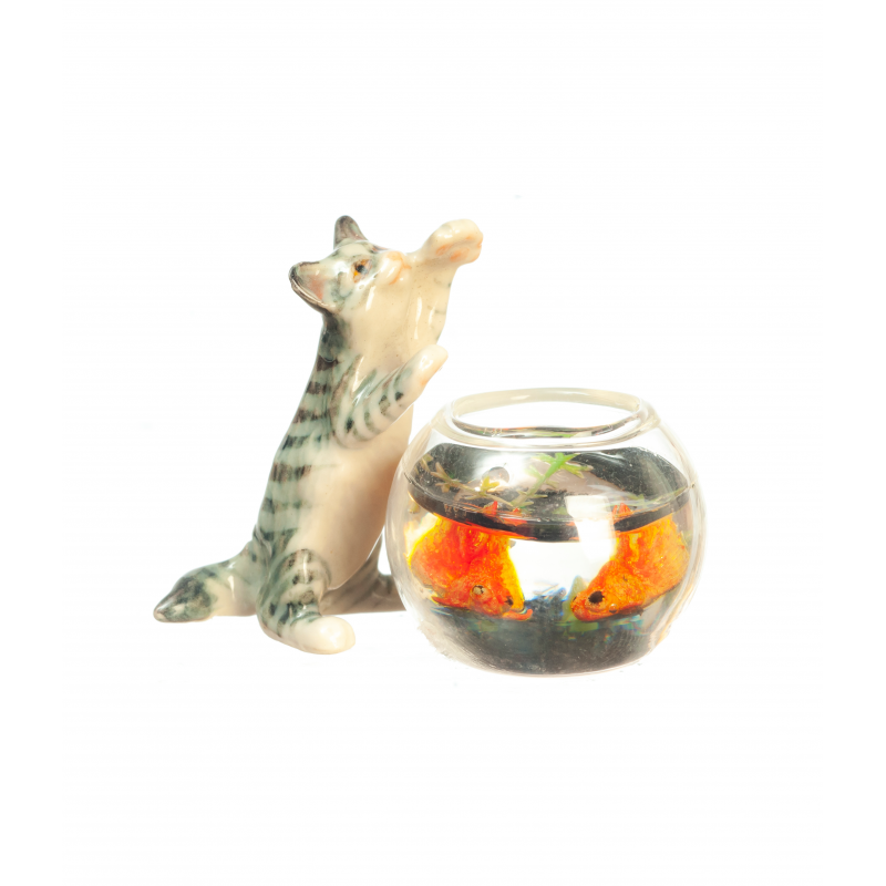 Dolls House Jumping Cat with Glass Goldfish Bowl Miniature Pet Accessory 1:12