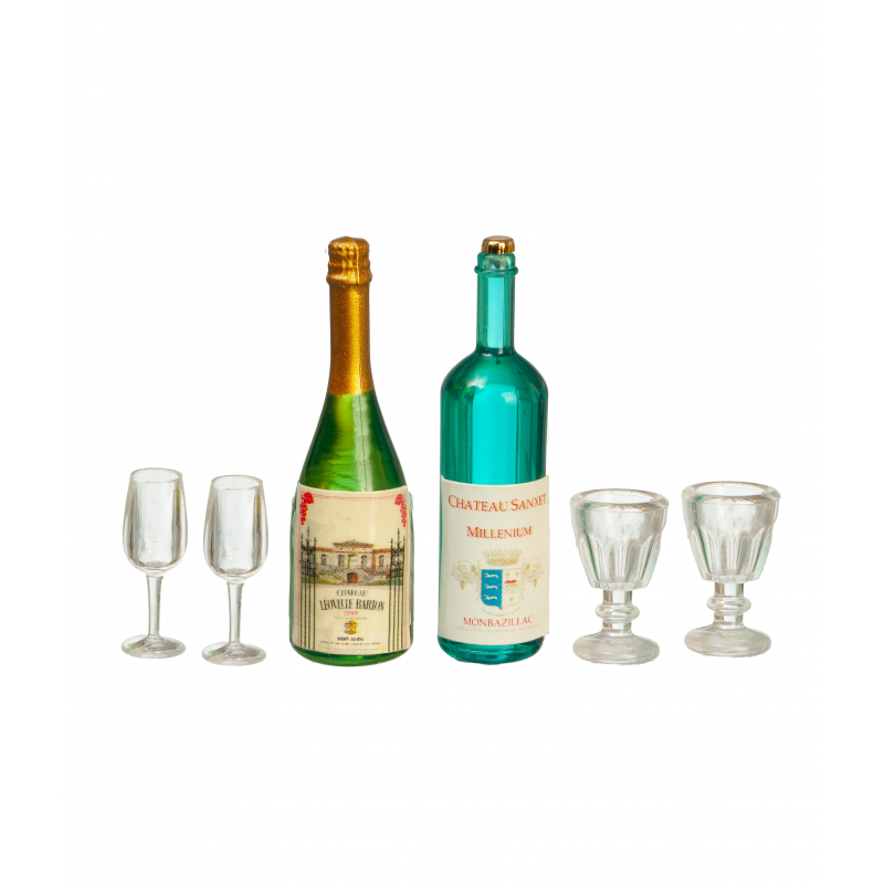 Dolls House Champagne & Wine Bottles with Glasses 1:12 Bar Pub Dining Accessory