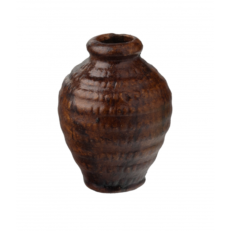 Dolls House Brown Aged Patterned Vase Miniature Home or Garden Accessory 1:12