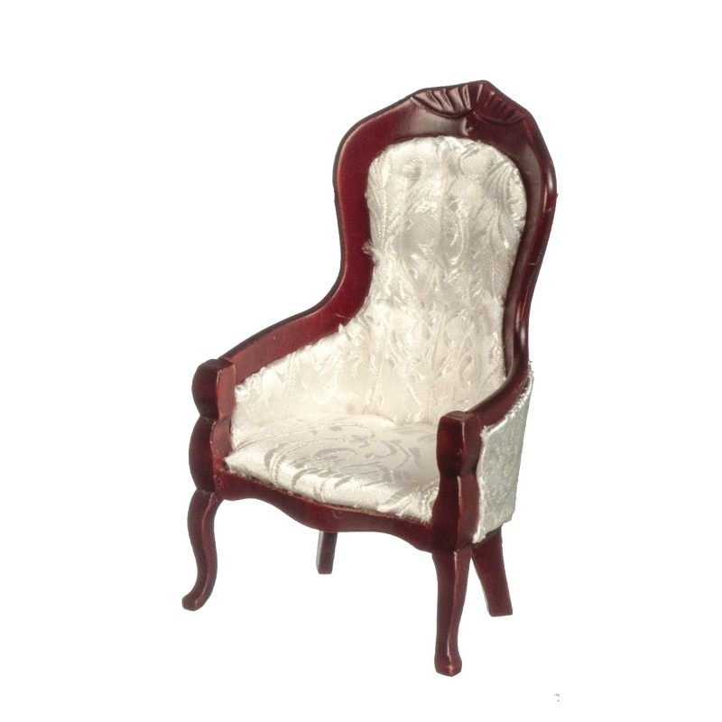Dolls House Victorian White & Mahogany Gents Chair Living Room Furniture 1:12