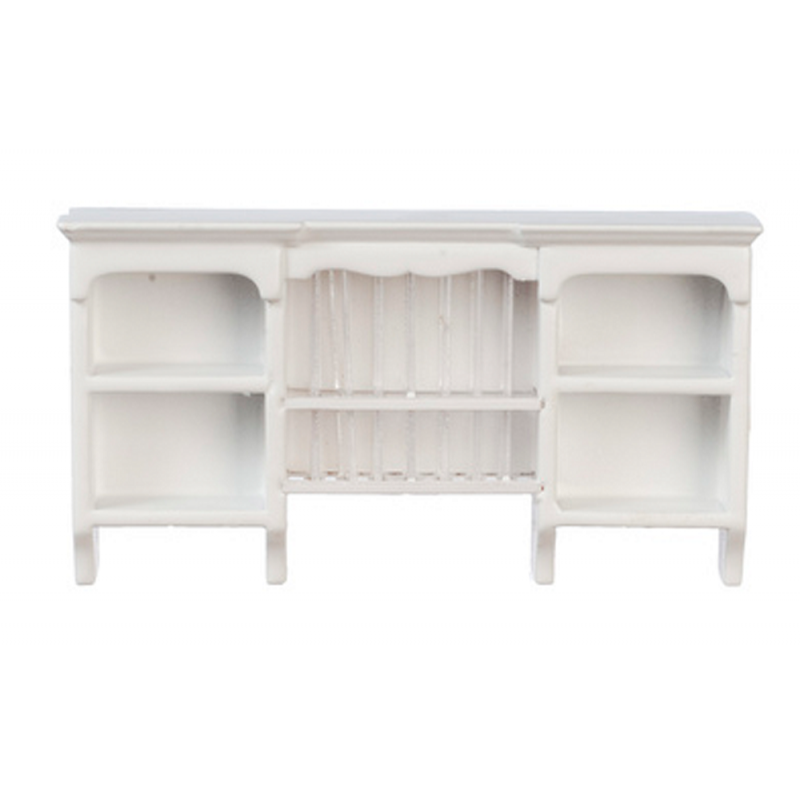 Dolls House White Wooden Wall Cupboard with Plate Rack Kitchen Furniture 1:12