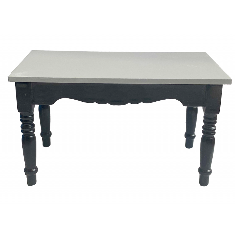 Dolls House Black & Grey Wooden Table Miniature Kitchen Dining Furniture 1:12