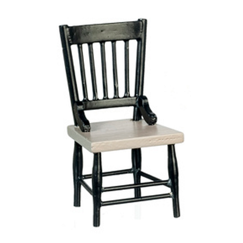 Dolls House Black & Grey Wooden Side Chair Miniature Kitchen Dining Furniture