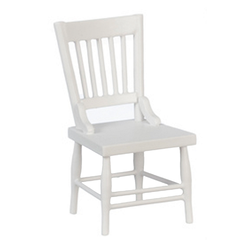 Dolls House White Wooden Side Chair Miniature Kitchen Dining Furniture