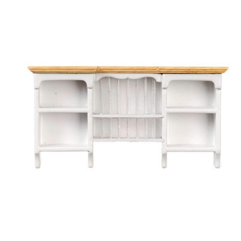 Dolls House White & Oak Wall Cupboard with Plate Rack Kitchen Furniture 1:12