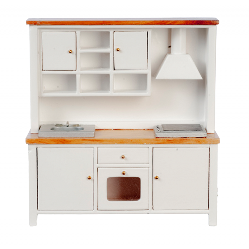 Dolls House White & Oak Complete Modern Kitchen Unit with Sink Oven & Hob 1:12