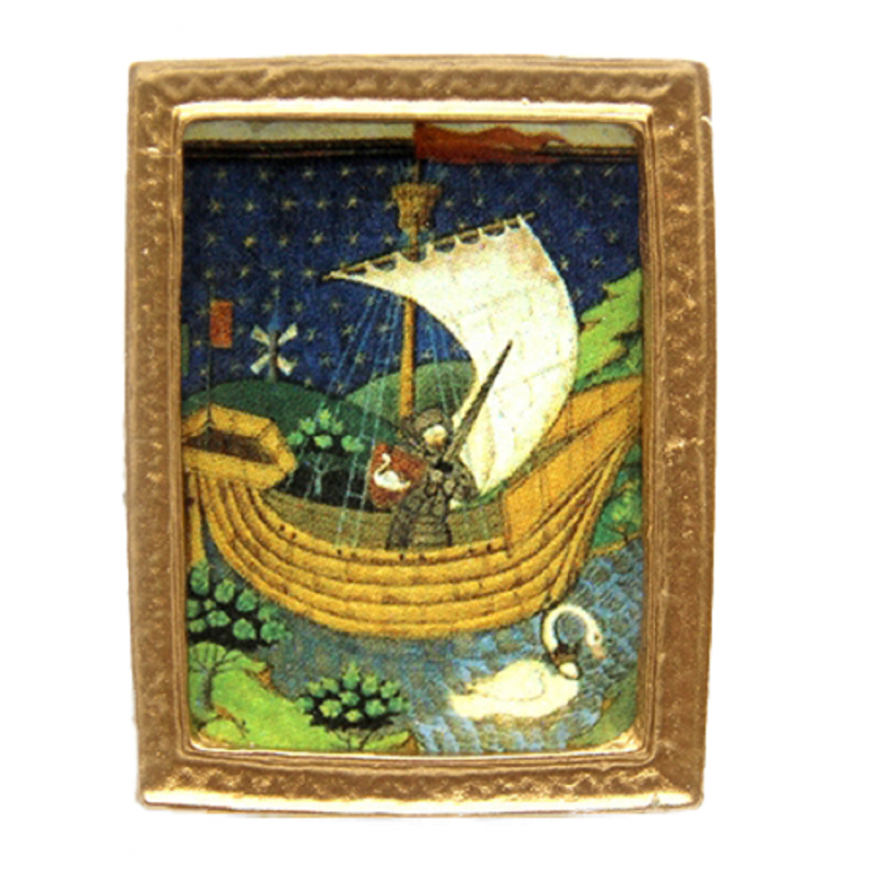 Dolls House Medieval Boat Small Picture Painting Gold Frame Miniature Accessory