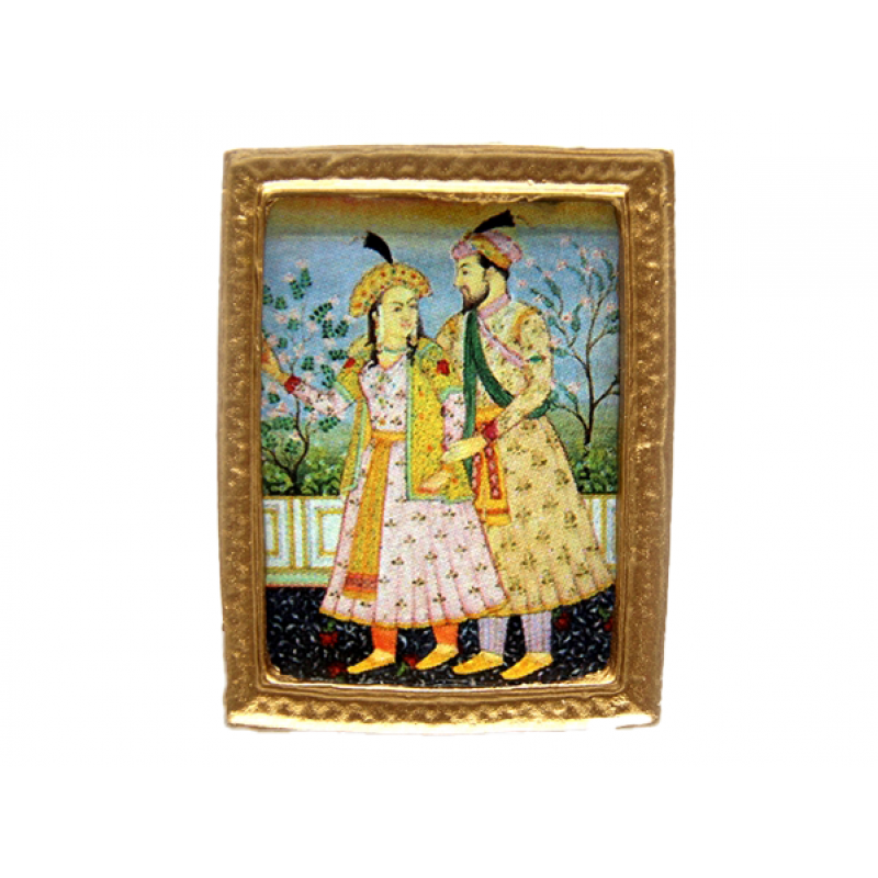 Dolls House Indian Culture Small Painting Gold Frame Miniature Accessory 1:12