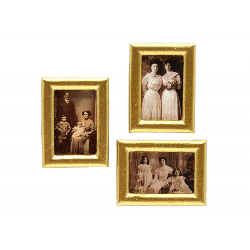 Dolls House 3 Edwardian Family Portrait Paintings in Gold Frames 1:12 Accessory
