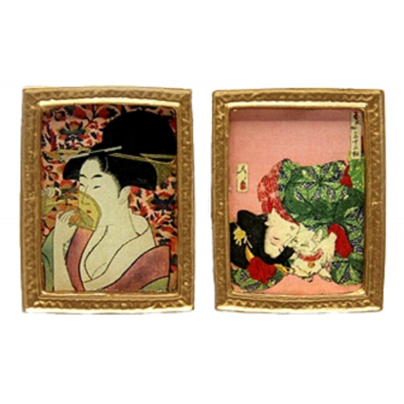 Dolls House 2 Japanese Woodblocks Picture Paintings Gold Frame 1:12 Accessory