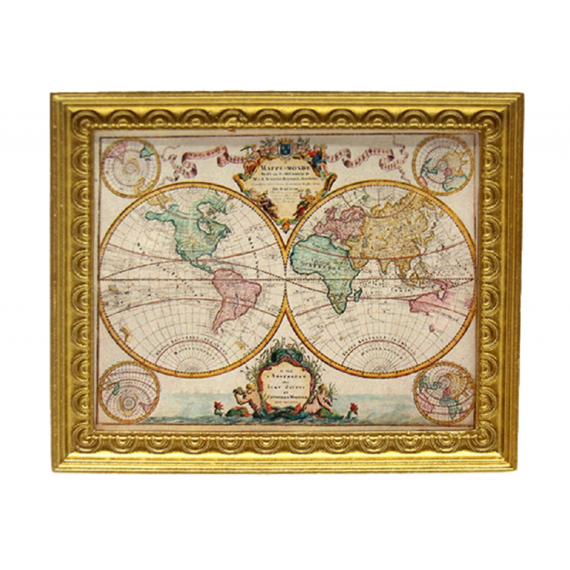 Dolls House Vintage World Map Painting Picture Gold Frame Miniature Accessory