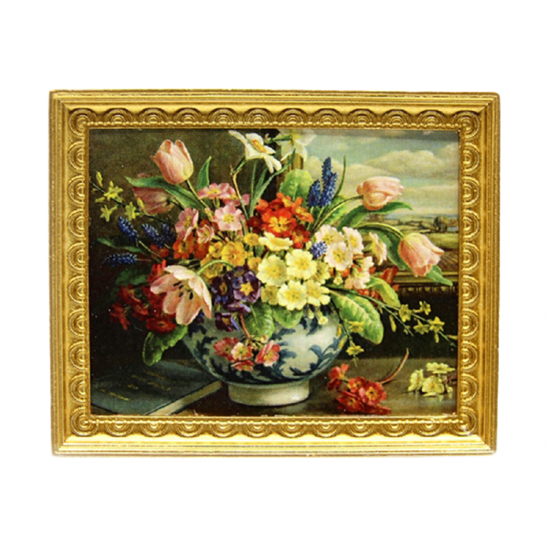 Dolls House Spring Flowers in Vase Picture Painting Gold Frame 1:12 Accessory