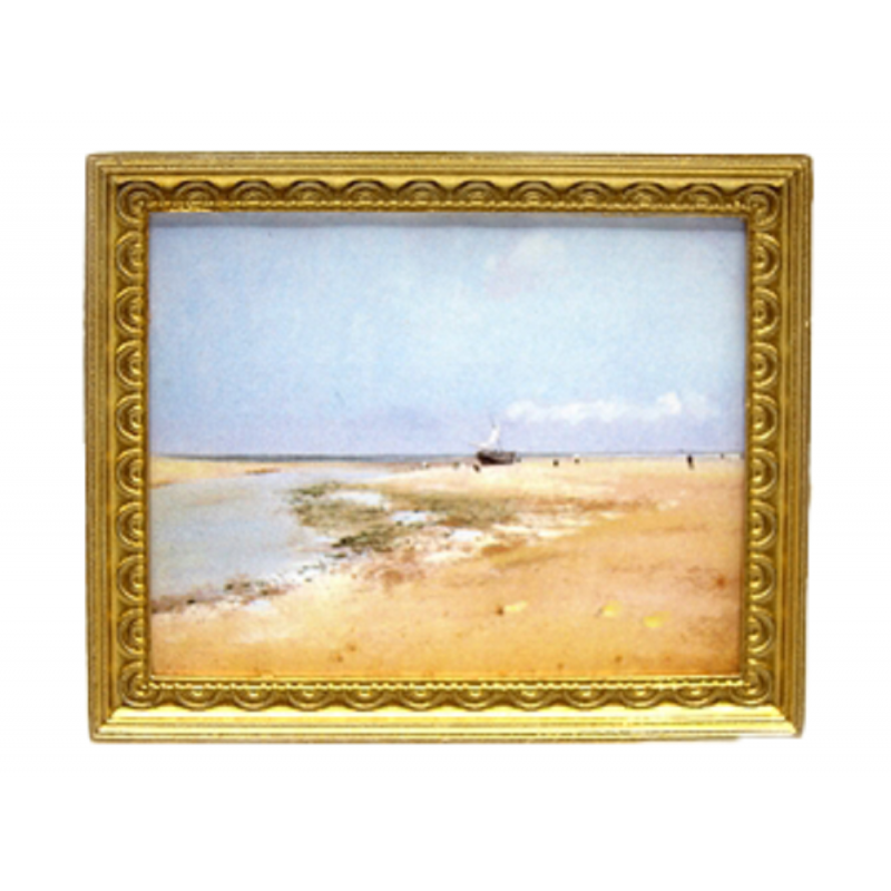Dolls House Scenic Beachscape Picture Painting Gold Frame Miniature Accessory