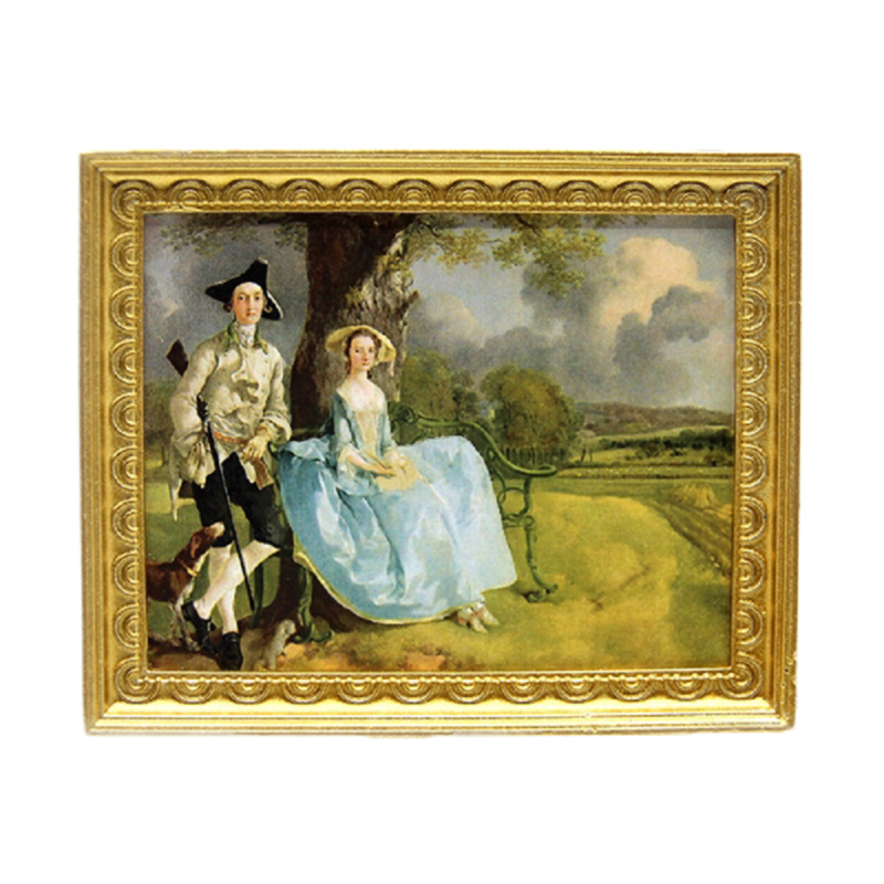 Dolls House Mr & Mrs Family Portrait Picture Painting Gold Frame 1:12 Accessory