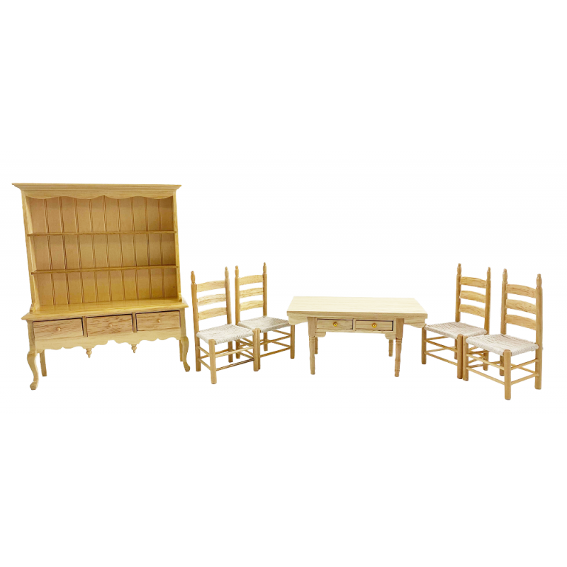 Dolls House Light Oak Country Dining Room Furniture Set 1:12 Scale