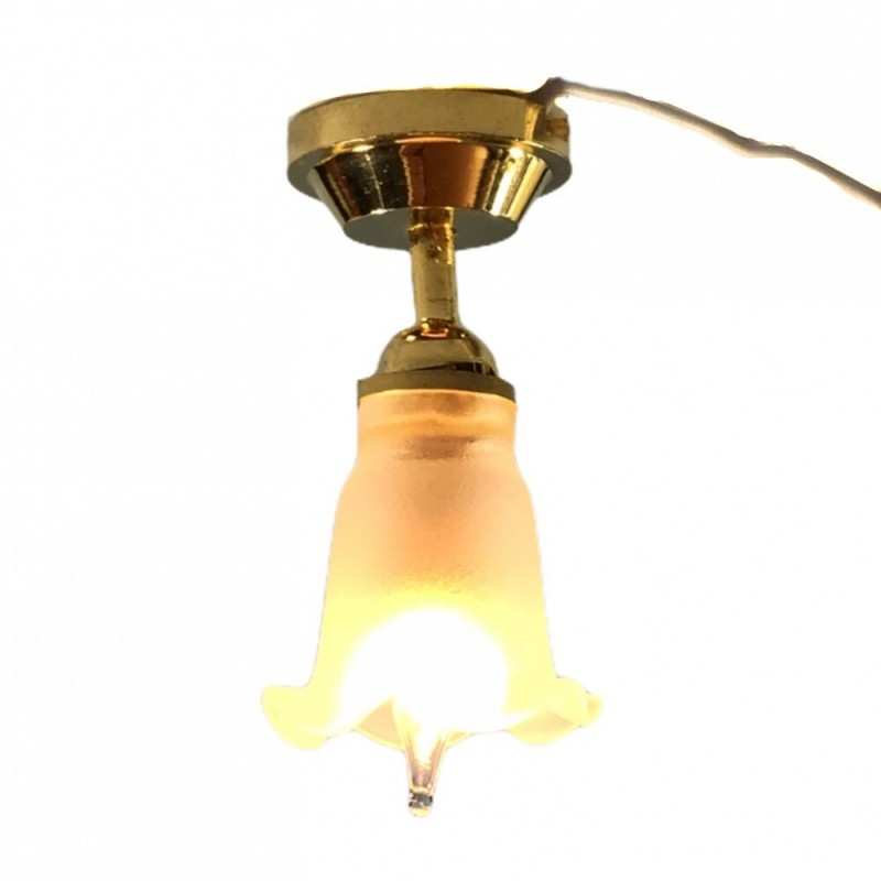 Dolls House Ceiling Light Frosted Tulip Shade 12V Miniature Electric Lighting
